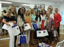 The stunning Miss Scotland 2017 Finalists with the lovely Christine Friel McGrory